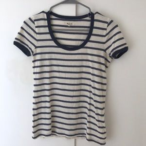 Madewell scoop neck tshirt blue and white stripe